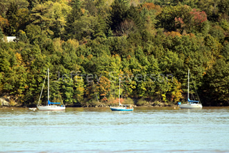 Boats on the Hudson in Fall